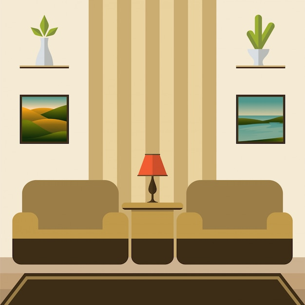 Flat design living room with two sofa vector illustration