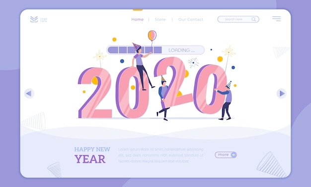 Flat design loading into 2020, new year party on landing page