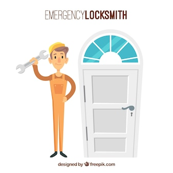 Flat design locksmith character