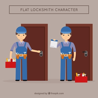 Flat design locksmith character
