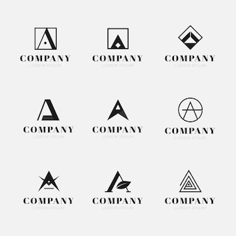 Flat design a logo collection
