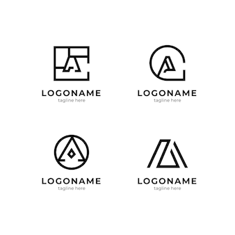 Flat design a logo template set