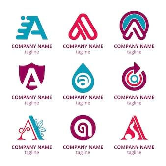 Flat design a logo template set