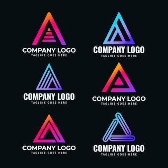 Flat design a logo templates collection