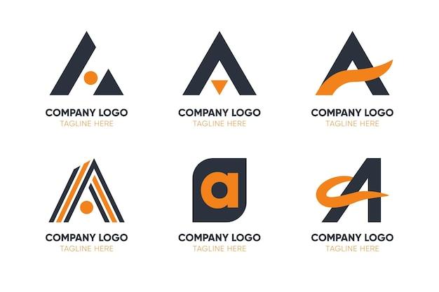 Flat design a logo templates pack