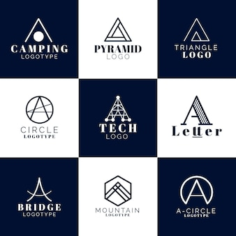 Flat design a logo templates pack