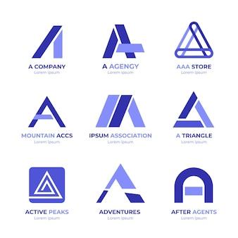 Flat design a logo templates set