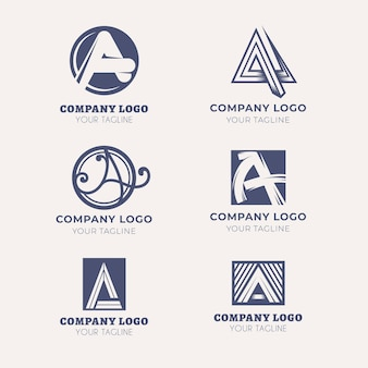 Flat design a logo templates set