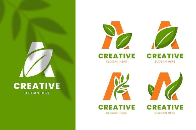Flat design a logo templates Free Vector