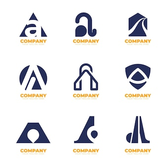 Flat design a logos collection