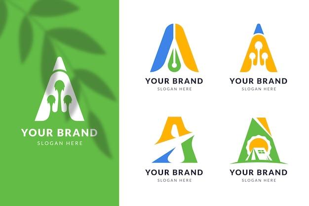 Flat design a logos collection