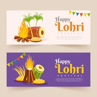 Flat design lohri banners template