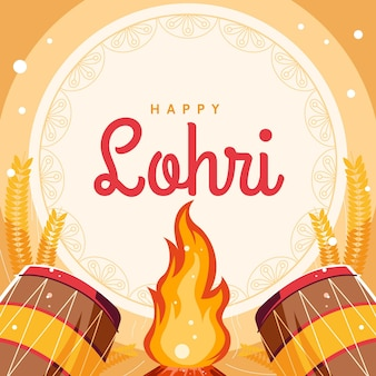 Flat design lohri bonfire
