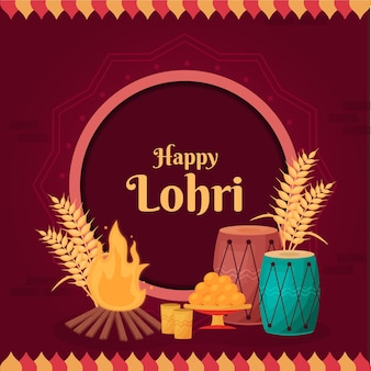 Flat design lohri festival