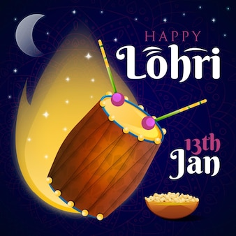 Flat design lohri illustrated bonfire