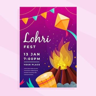 Flat design lohri poster template