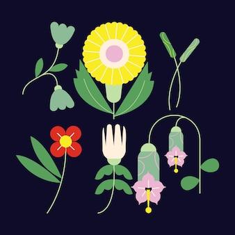Плоский дизайн прекрасный весенний цветочный пакет