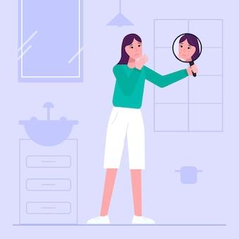 Flat design low self esteem illustration