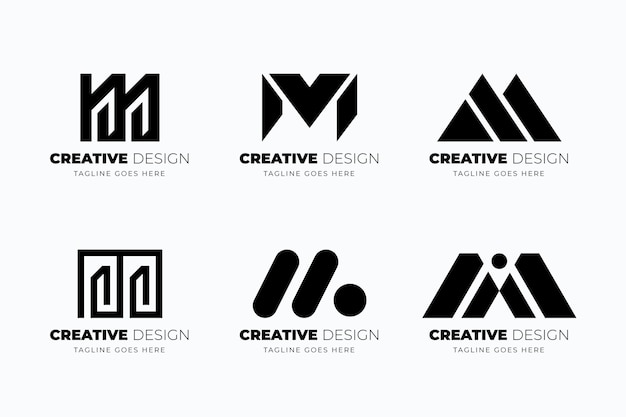 Flat design m logo template collection
