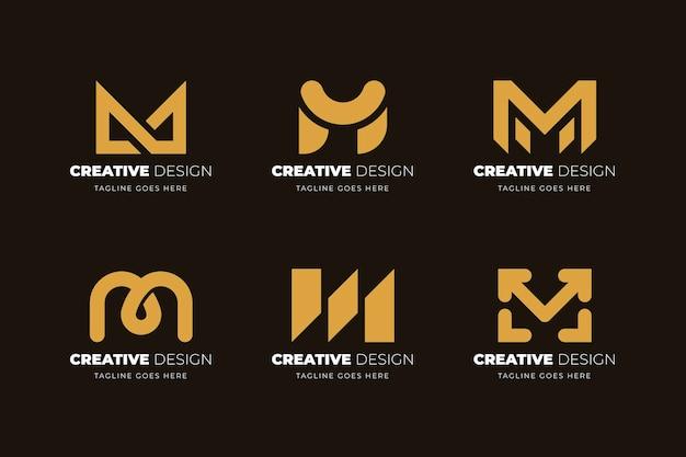 Плоский дизайн коллекции логотипов m
