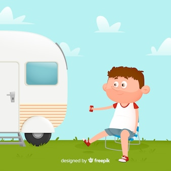 Flat design man camping illustrated