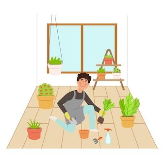 Uomo di design piatto che fa il giardinaggio a casa