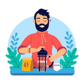 コーヒーのイラストを作るフラットデザイン男