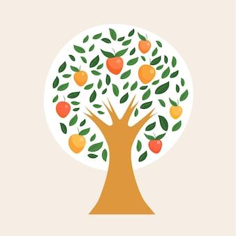 Albero di mango design piatto illustrato