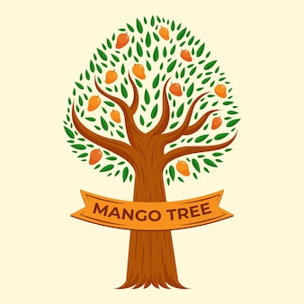 Flat design mango tree illustration