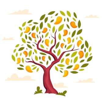 Flat design mango tree illustration