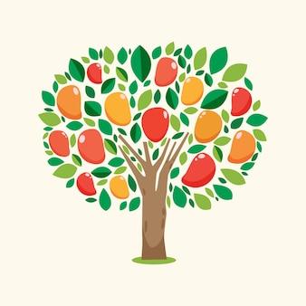 フラットなデザインのマンゴーの木のイラスト