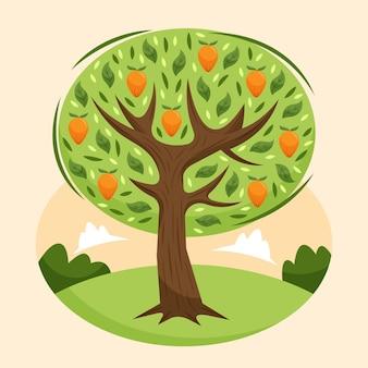 Манговое дерево в плоском дизайне на зеленом поле