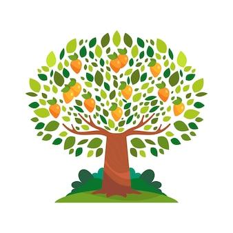 과일과 녹색 잎을 가진 평면 디자인 망고 나무