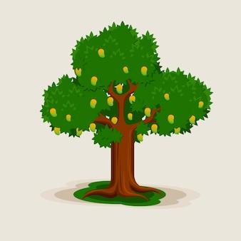 Плоский дизайн манговое дерево с фруктами и листьями иллюстрации