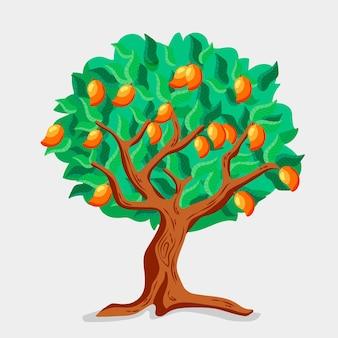 Манговое дерево в плоском дизайне с фруктами и листьями