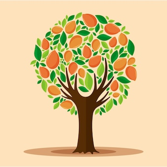 Flat design mango tree with fruits