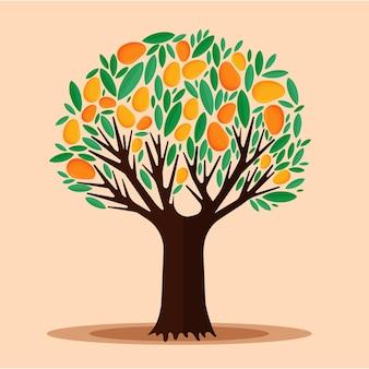 Плоский дизайн манговое дерево с фруктами