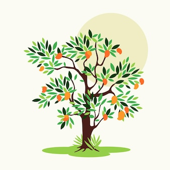 Flat design mango tree with leaves