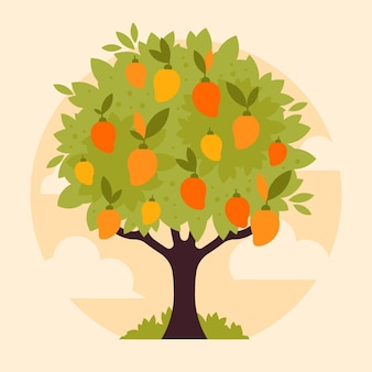 Flat design mango tree