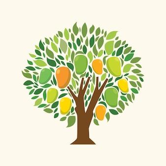 Albero di mango design piatto