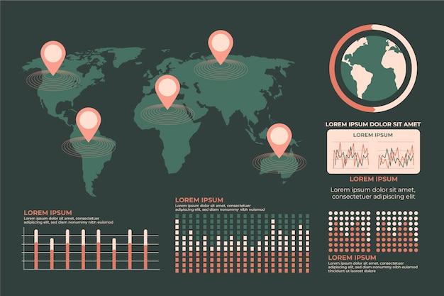 フラットデザインマップインフォグラフィック