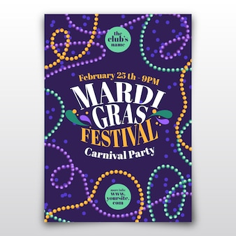 Flat design mardi gras carnival flyer template