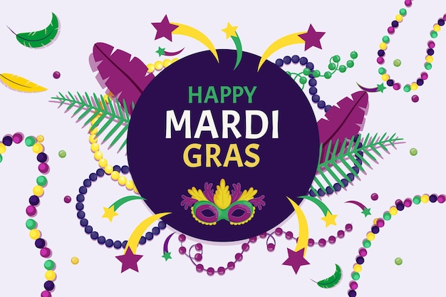 Flat design mardi gras celebration event theme