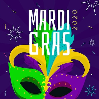 Flat design mardi gras celebration theme