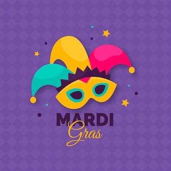 Flat design mardi gras event theme