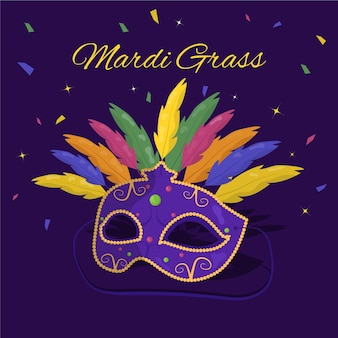 Flat design mardi gras mask with feathers