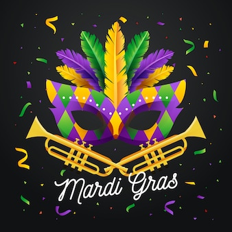Flat design mardi gras mask with lettering