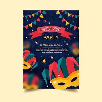 Flat design mardi gras poster template