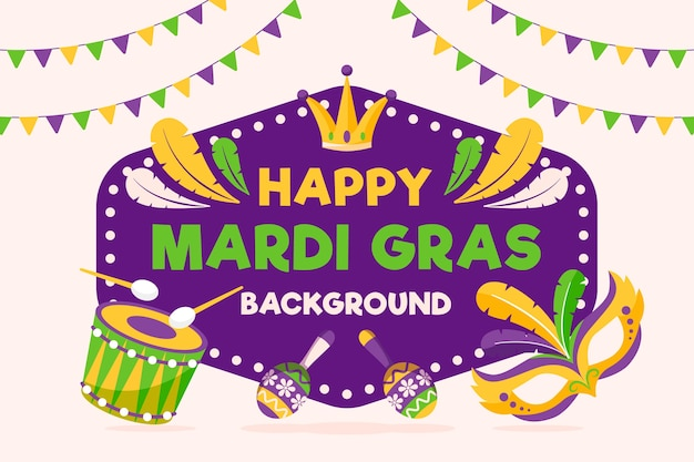 Flat design mardi gras vintage design with masks