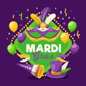 Flat design mardi gras with balloons and top hat
